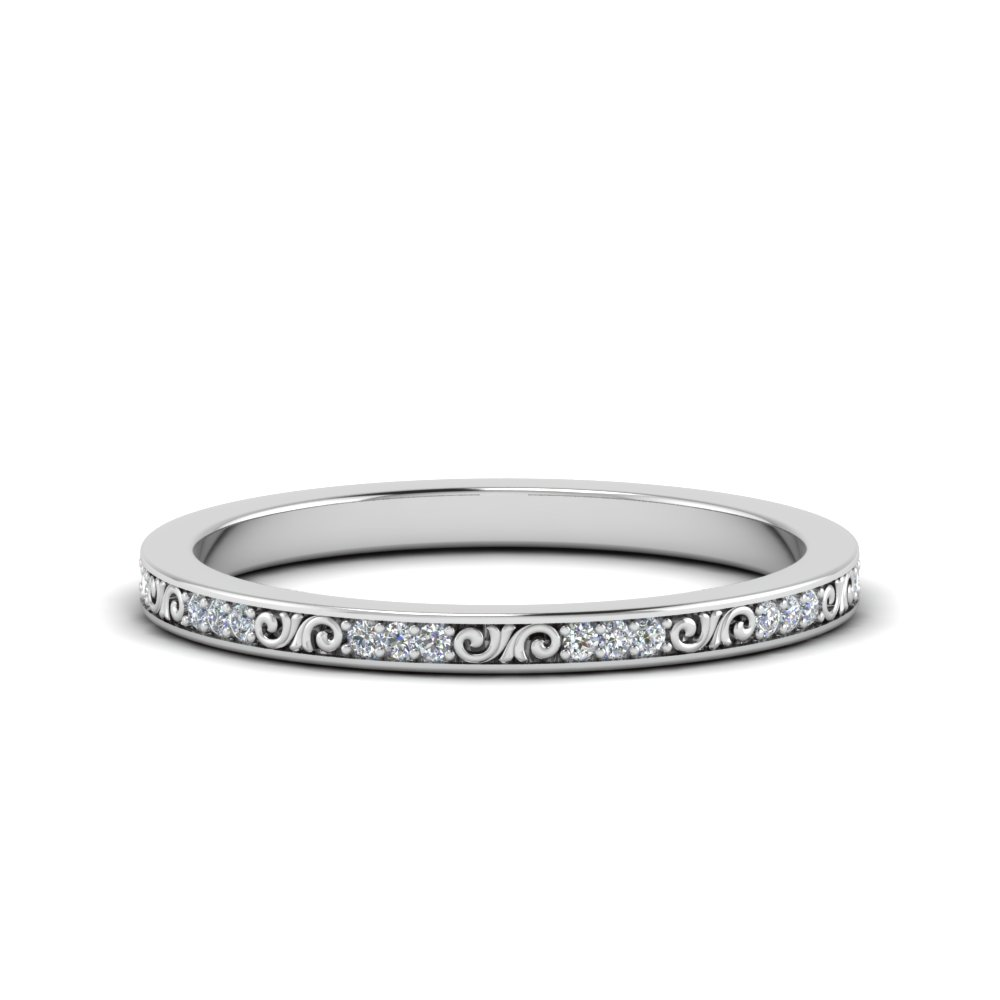 Thin Diamond Filigree Band