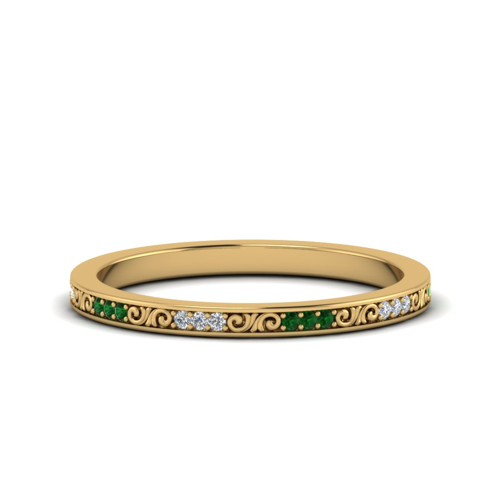 Filigree Emerald Stack Band
