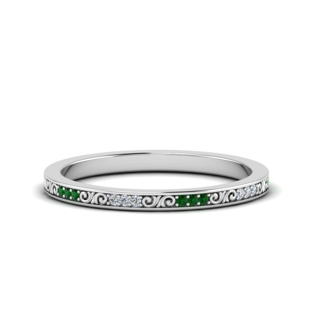 thin diamond filigree stack band with emerald in FDEWB122534BROGEMGR NL WG