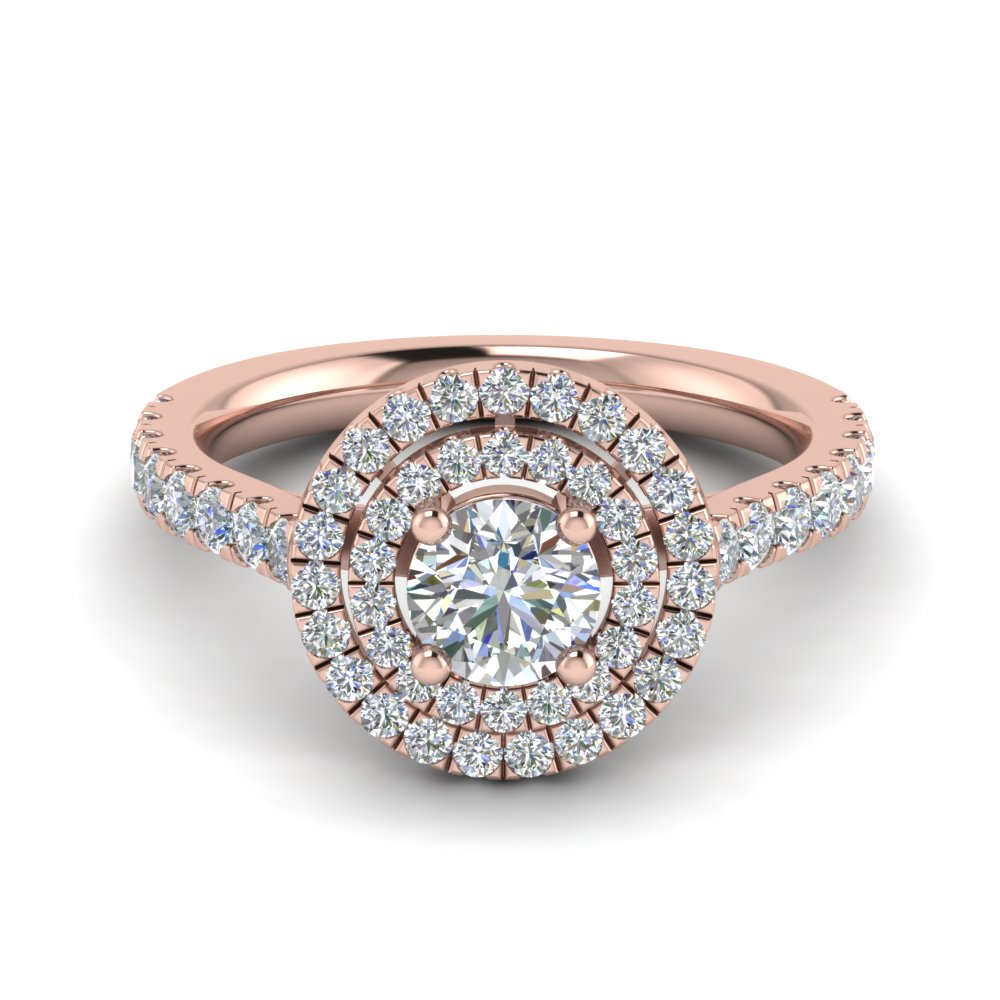 thin double halo round diamond engagement ring in FD9118ROR NL RG
