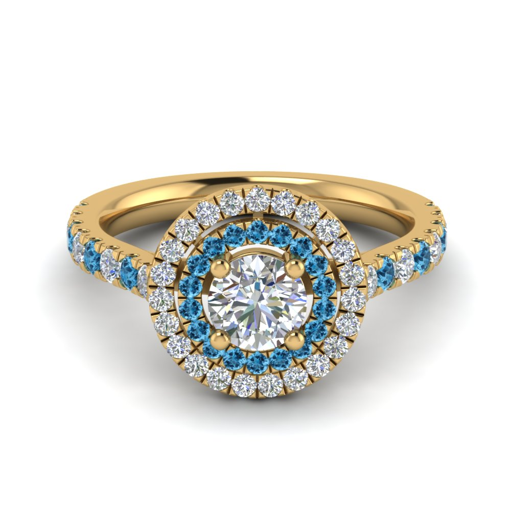 thin double halo round diamond engagement ring with blue topaz in FD9118RORGICBLTO NL YG