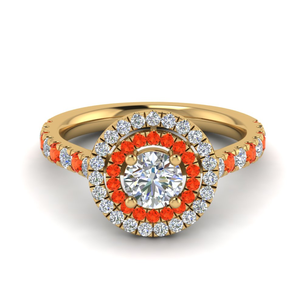 thin double halo round diamond engagement ring with orange topaz in FD9118RORGPOTO NL YG