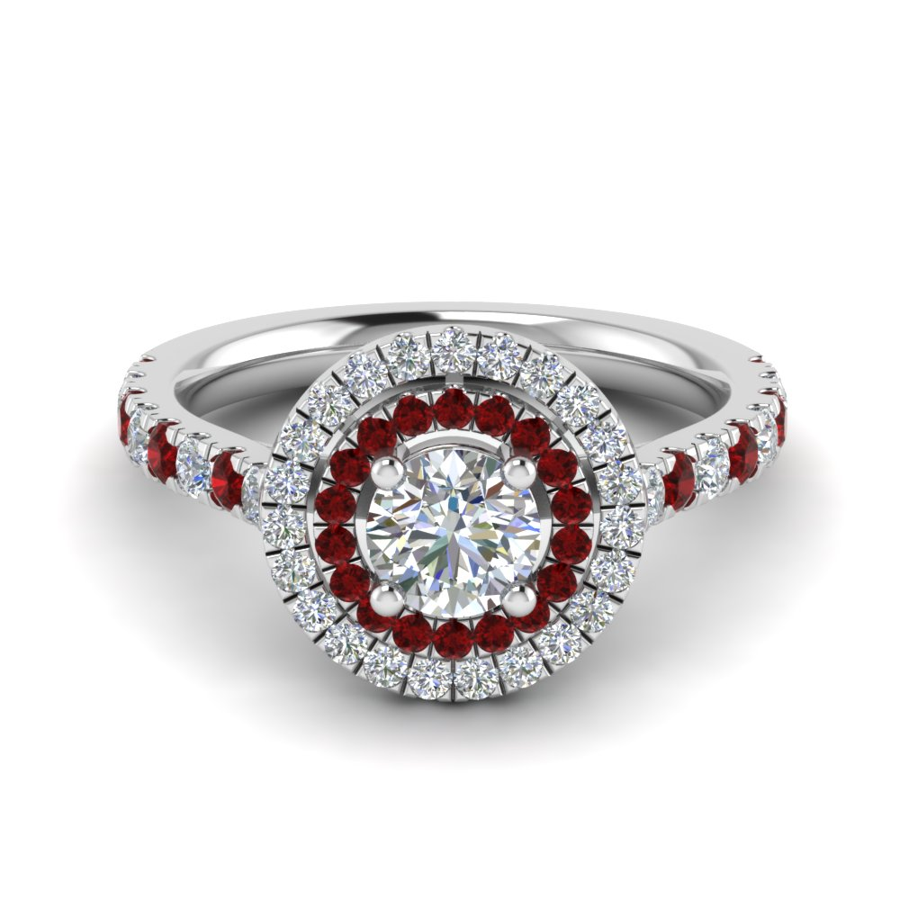 thin double halo round diamond engagement ring with ruby in FD9118RORGRUDR NL WG