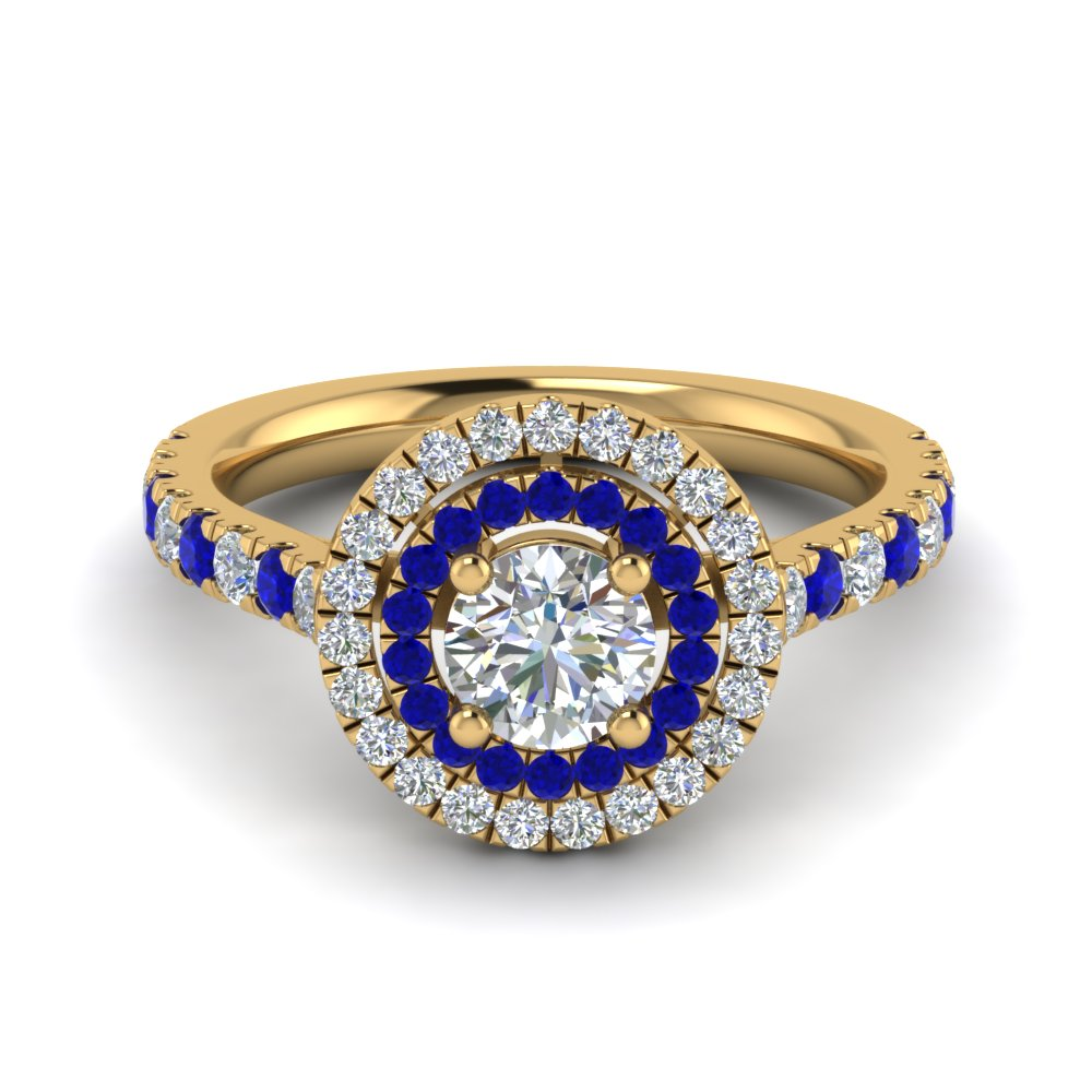 thin double halo round diamond engagement ring with sapphire in FD9118RORGSABL NL YG