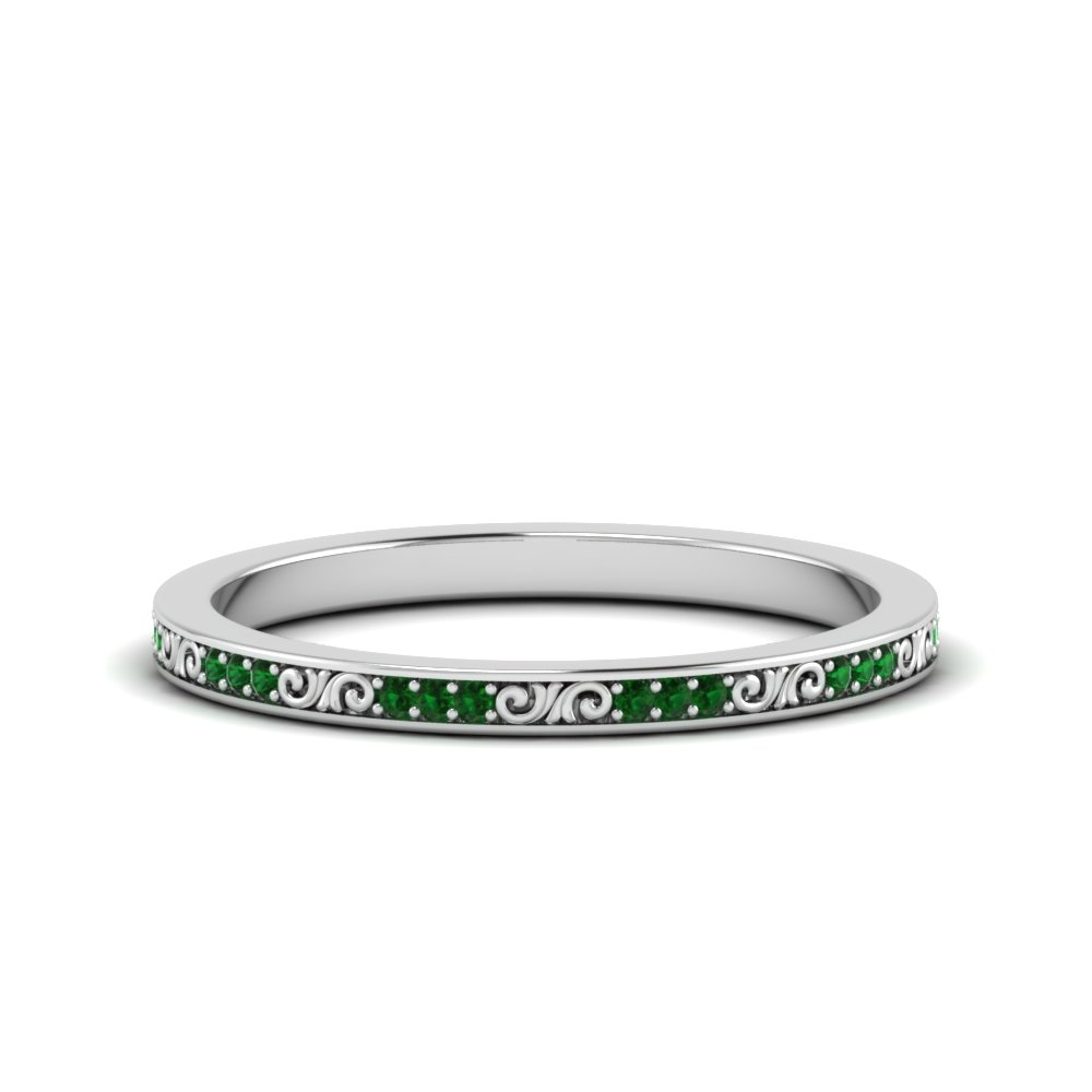 thin pave colored stone band filigree with emerald in FDEWB122534BROGEMGR NL WG GS
