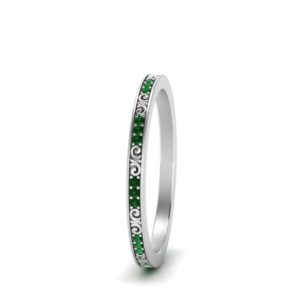in band platinum wedding with stone vintage thin wg nl jewelry add rings gs cart emerald colored filigree green pave to