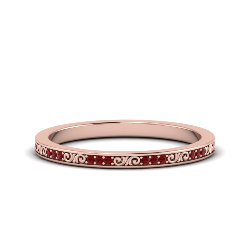 Thin Pave Ruby Filigree Band