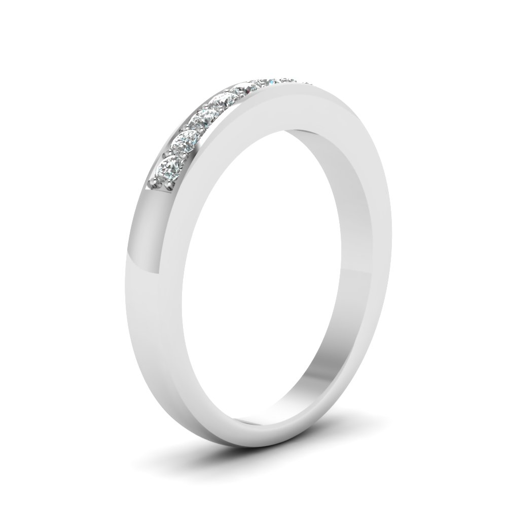 Thin Pave Diamond Wedding Band In 14K White Gold | Fascinating Diamonds