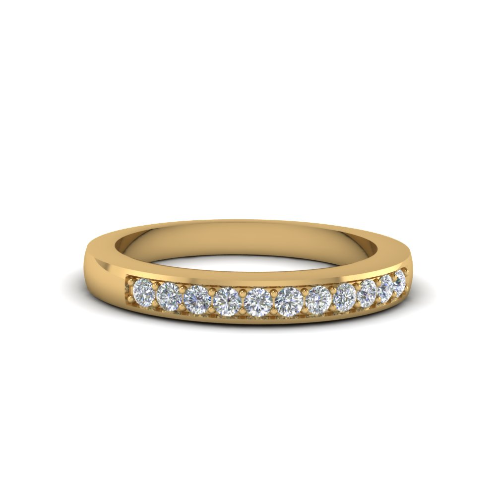 thin pave diamond wedding band in 14K yellow gold FDENS212B NL YG