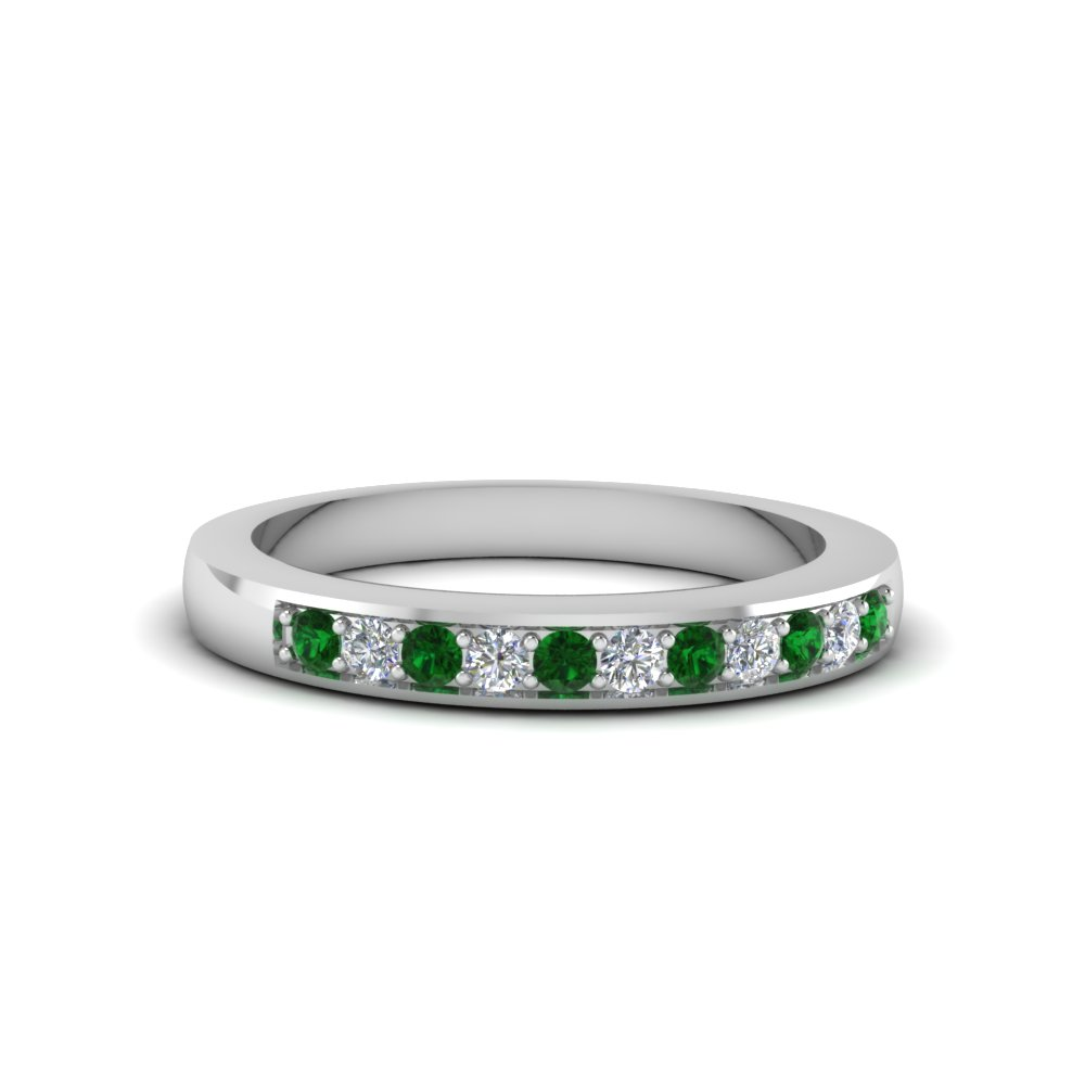 Womens Wedding Bands With Green Emerald In 950 Platinum: Jade Cross Wedding Bands At Websimilar.org