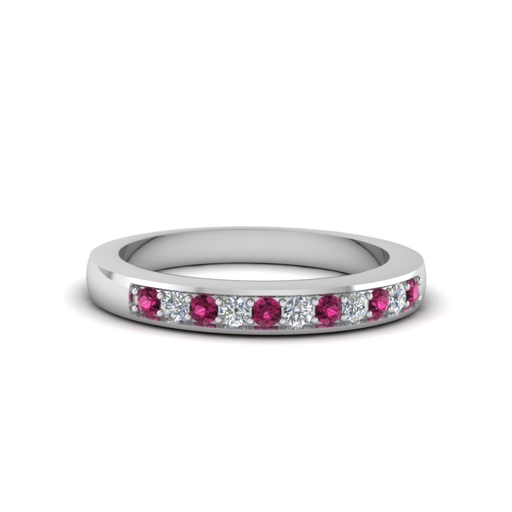 Thin Pave Diamond Wedding Band With Pink Sapphire In 14K White Gold