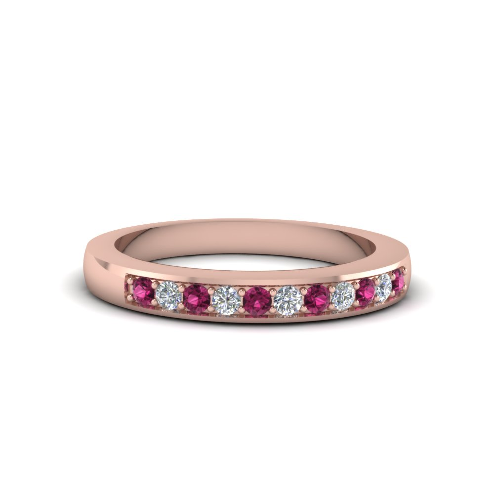 thin pave diamond wedding band with pink sapphire in 18K rose gold FDENS212BGSADRPI NL RG