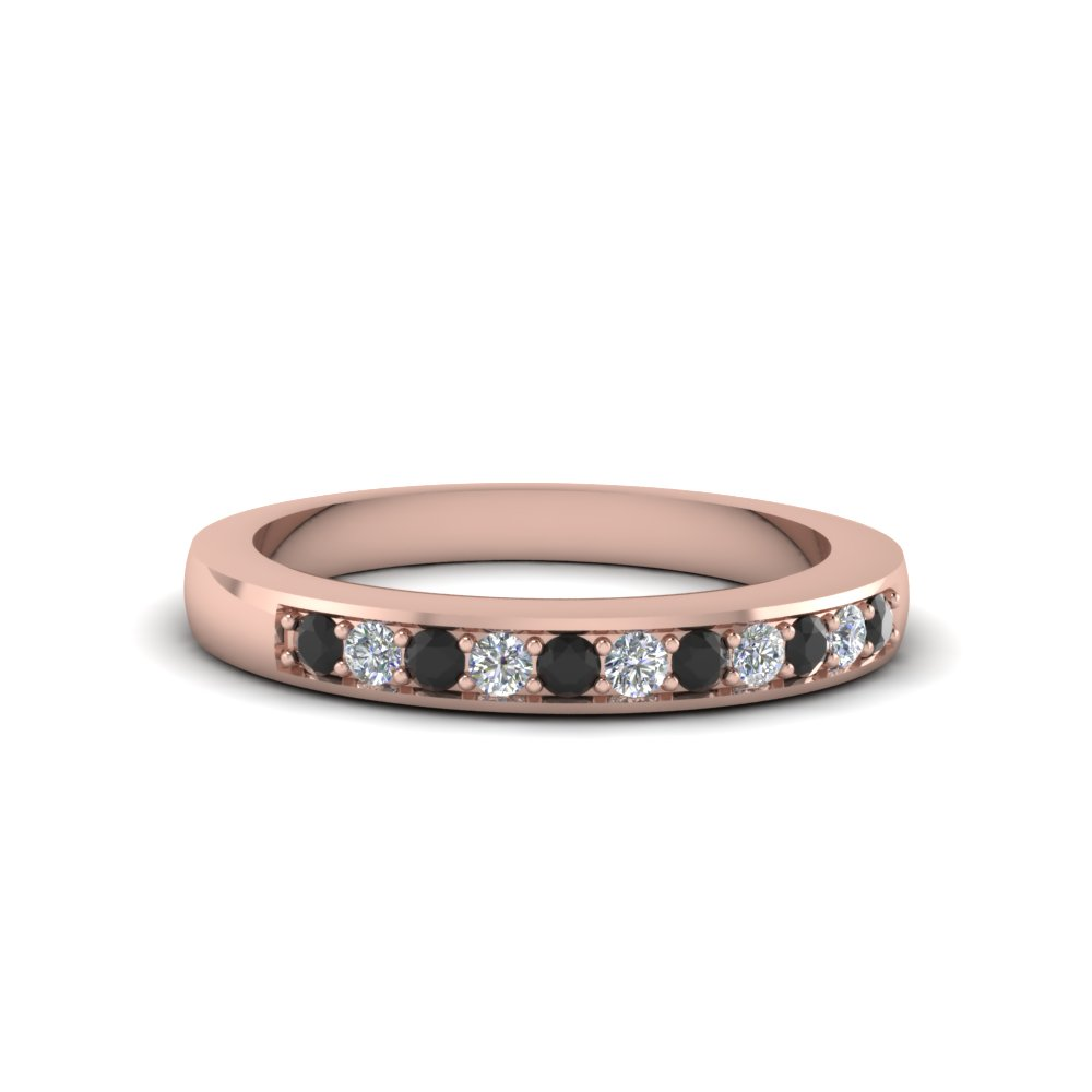 Thin Pave Wedding Band With Black Diamond In 14K Rose Gold ...