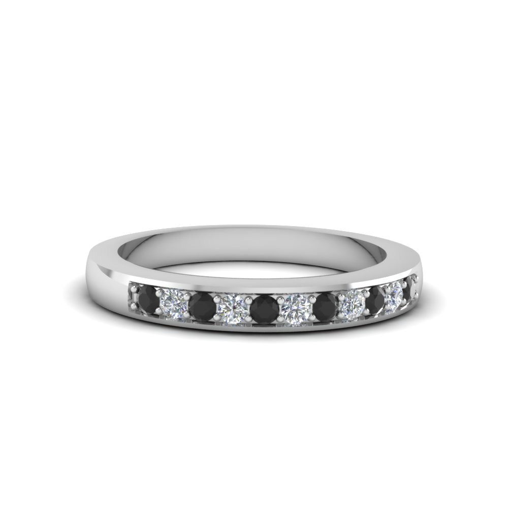Womens Wedding Bands With Black Diamond In 14k White Gold