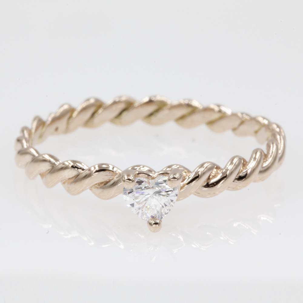 thin rope rose gold solitaire engagement ring FD1087HTR