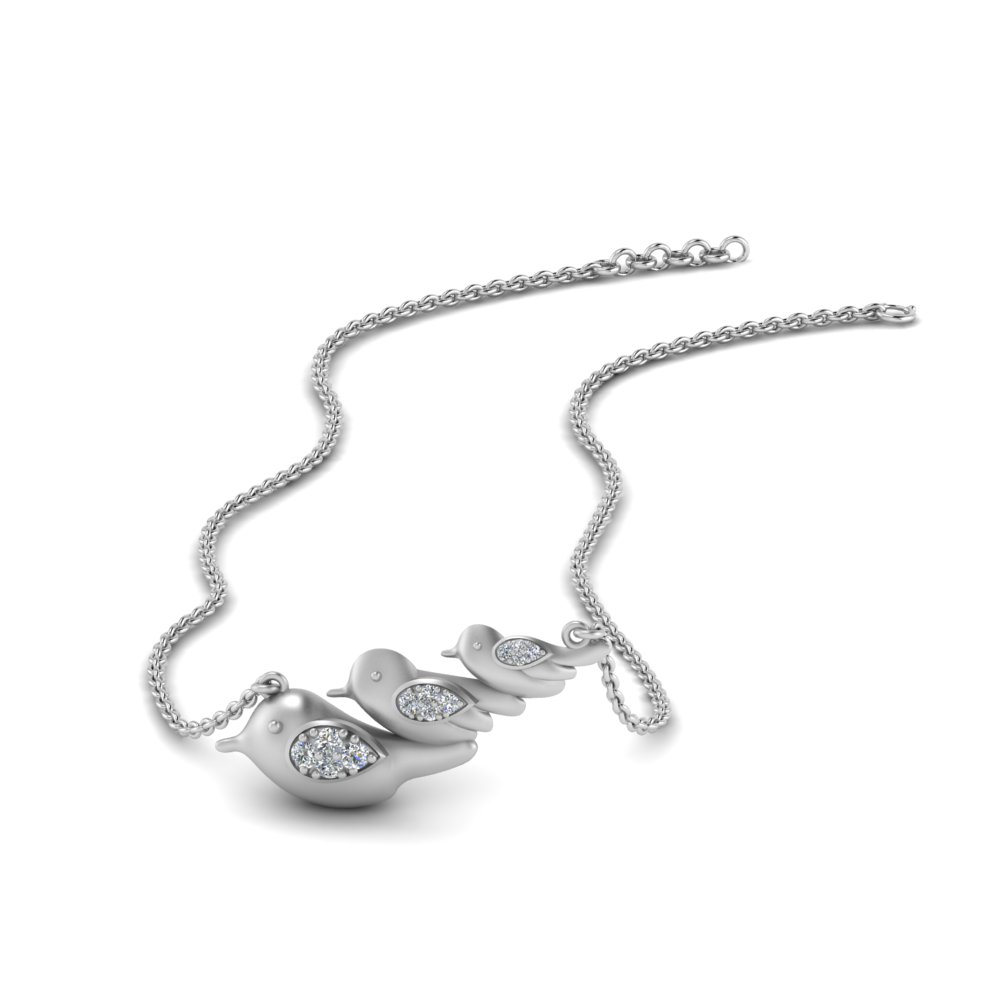 3 Bird Diamond Necklace For Mom