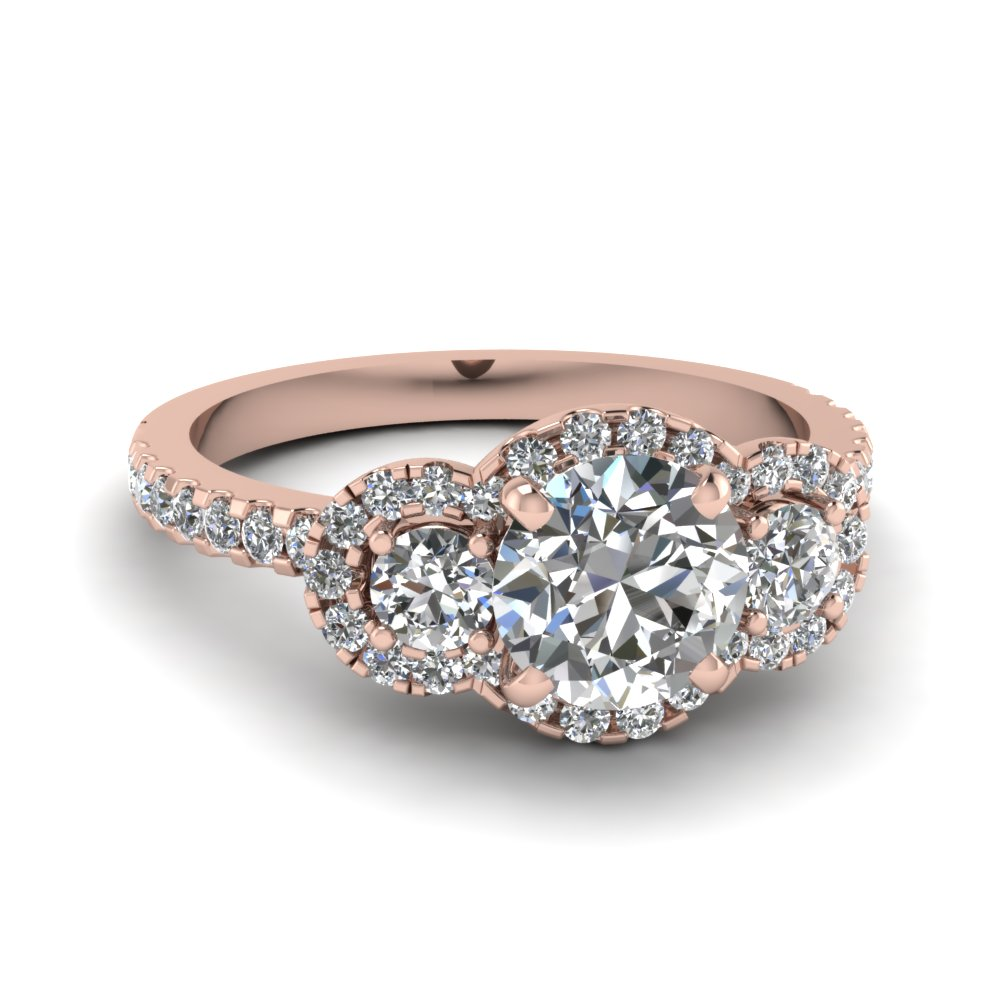 Delicate 3 Stone Halo Diamond Engagement Ring In 14K Rose Gold