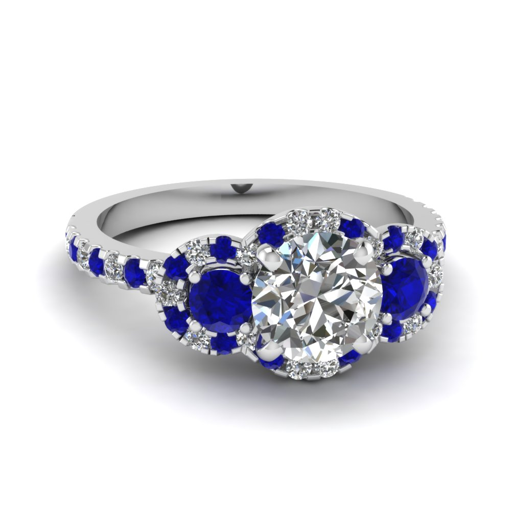 delicate 3 stone halo diamond engagement ring with sapphire in FDENS3179RORGSABL NL WG