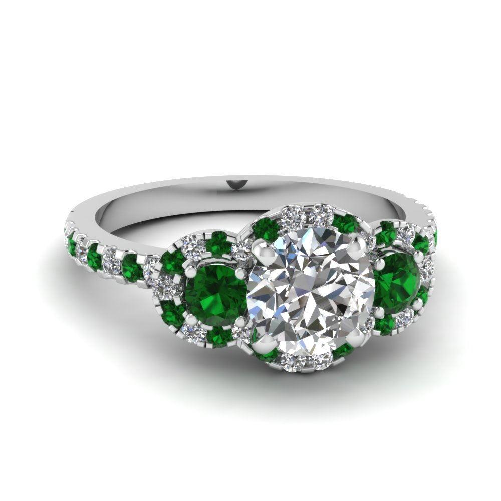 delicate 3 stone halo diamond engagement ring with emerald in FDENS3179RORGEMGR NL WG