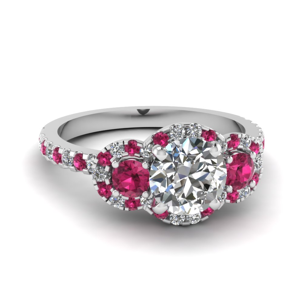 Delicate 3 Stone Halo Diamond Engagement Ring With Pink Shire In Fdens3179rorgsadrpi Nl Wg