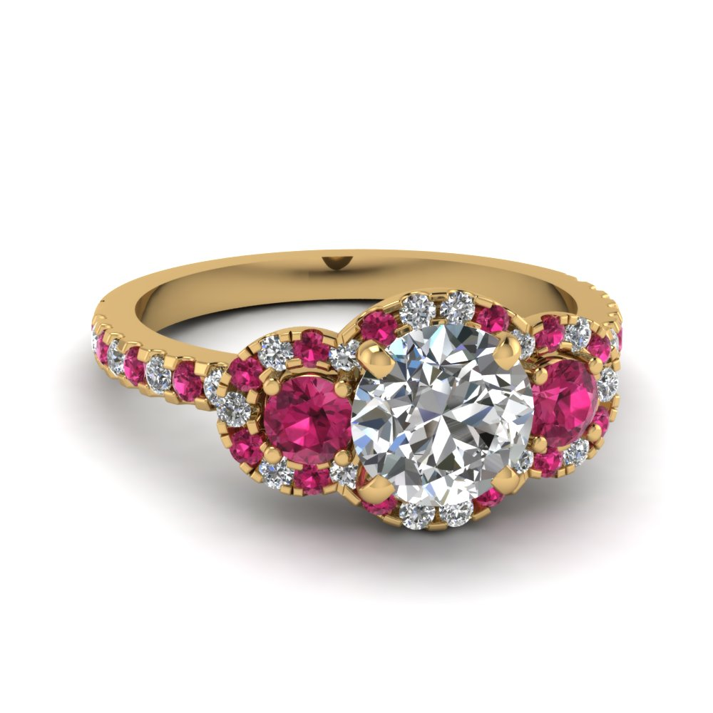 delicate 3 stone halo diamond engagement ring with pink sapphire in FDENS3179RORGSADRPI NL YG