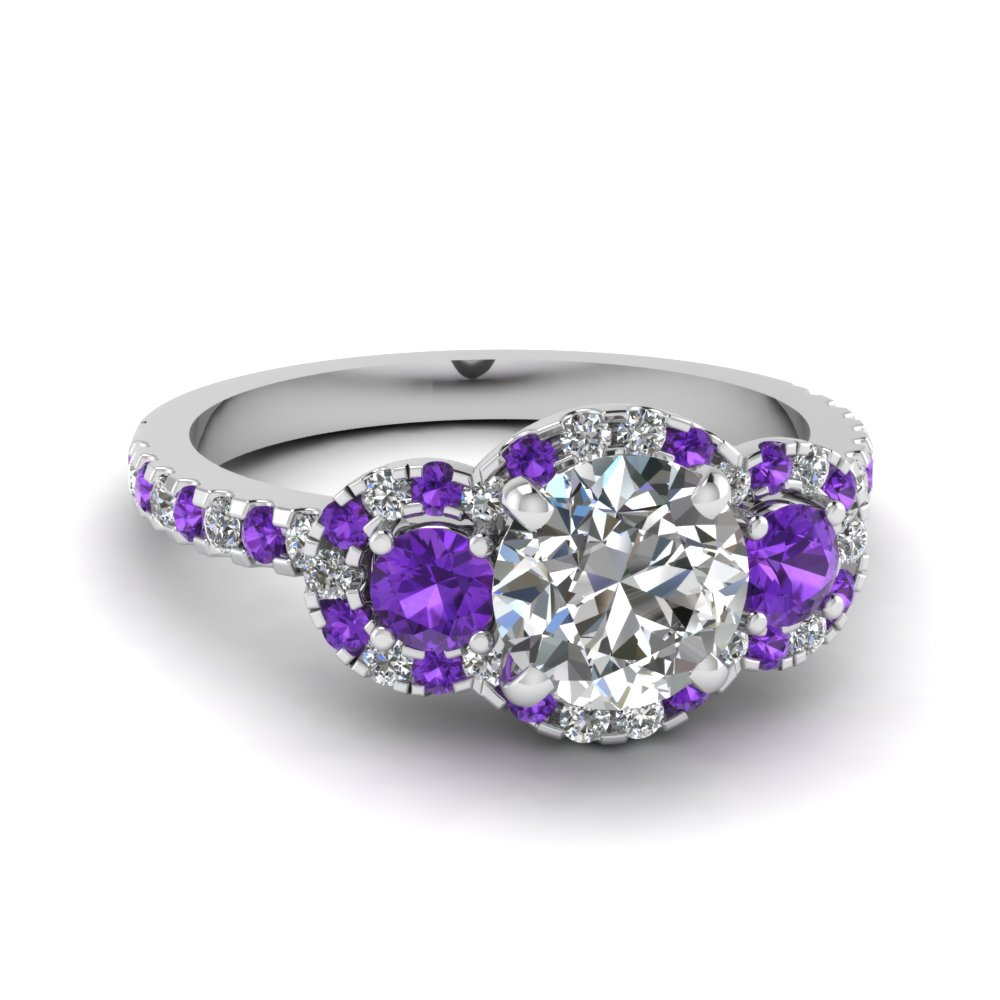 Artistic Purple Engagement Rings At Reasonable Price In Fascinating Diamonds