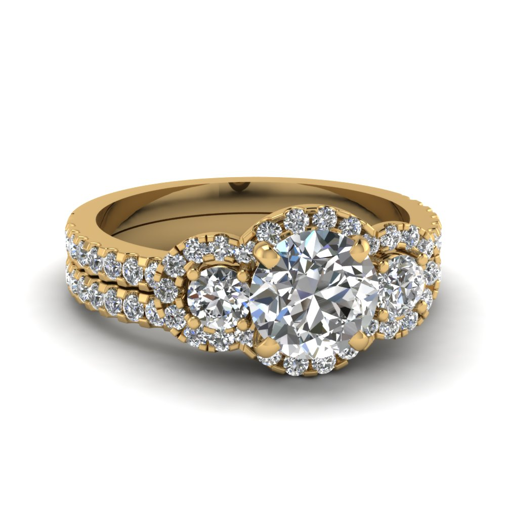 3 Round Diamond Halo Wedding Set