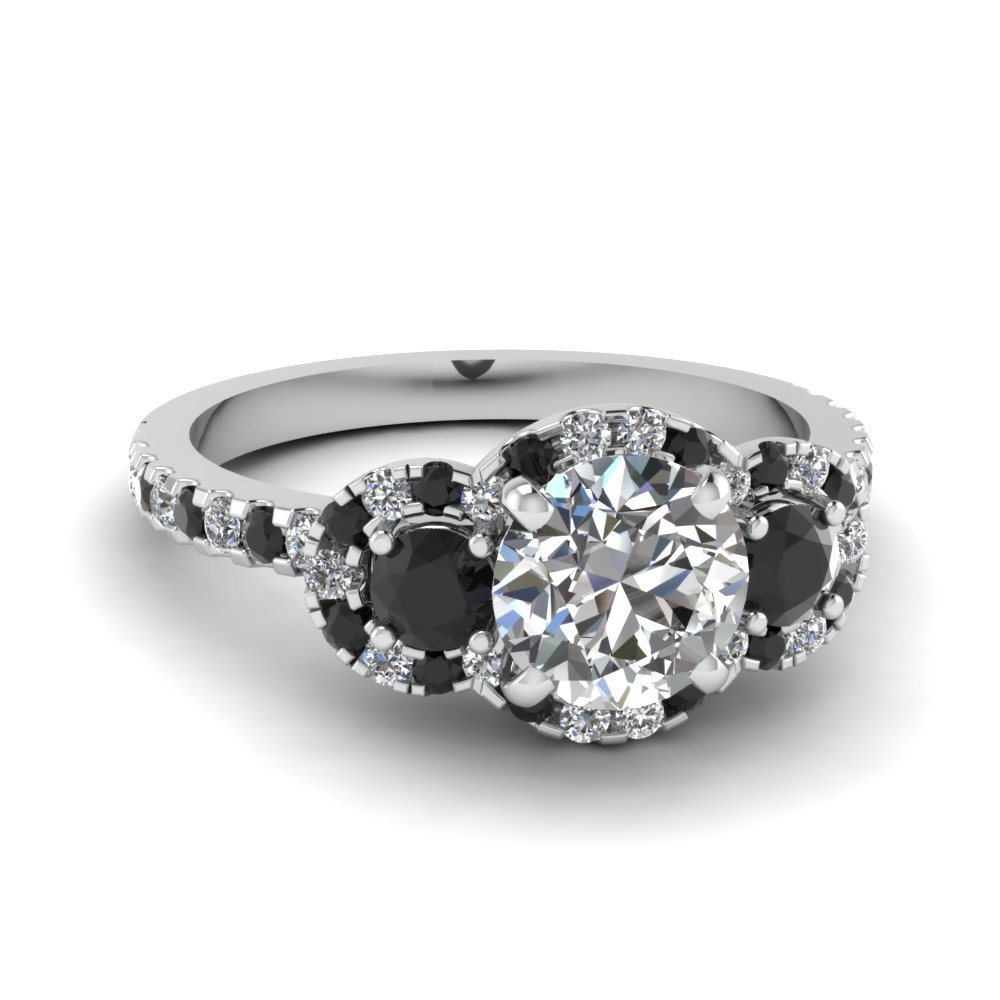 delicate 3 stone halo engagement ring with black diamond in FDENS3179RORGBLACK NL WG