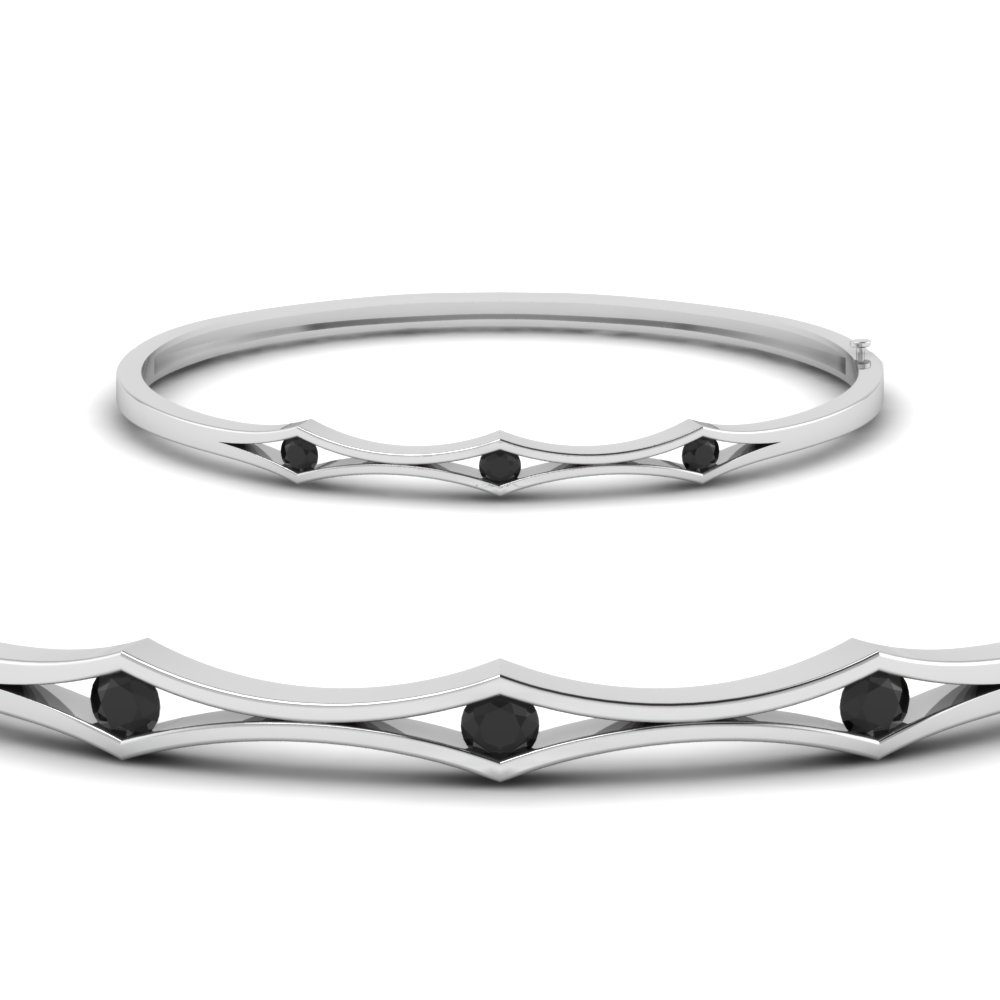 three stone black diamond bracelet bangle for women in FDBRC310GBLACKANGLE2 NL WG