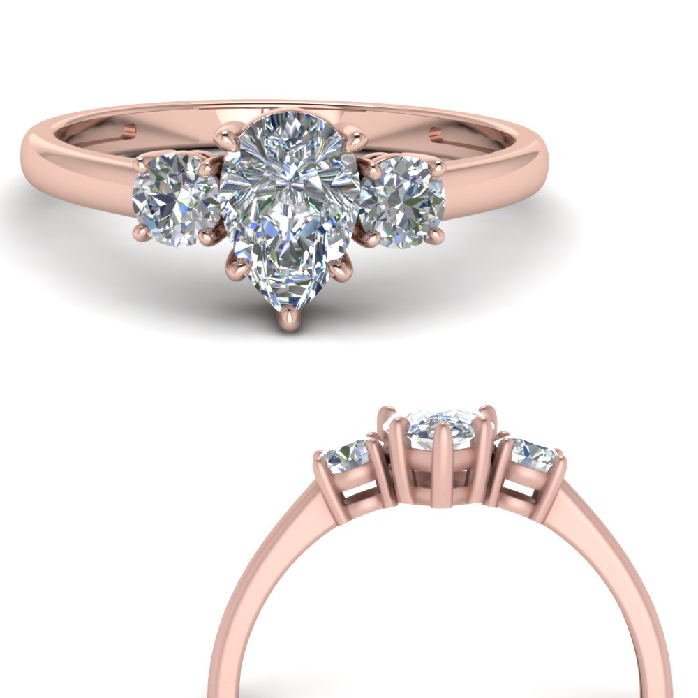 three stone classic pear shaped engagement ring in FD9166PERANGLE3 NL RG