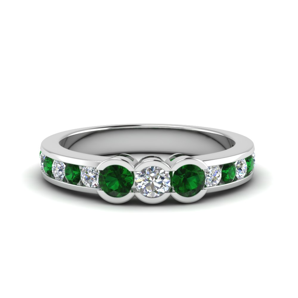 Platinum Channel Set Emerald Band