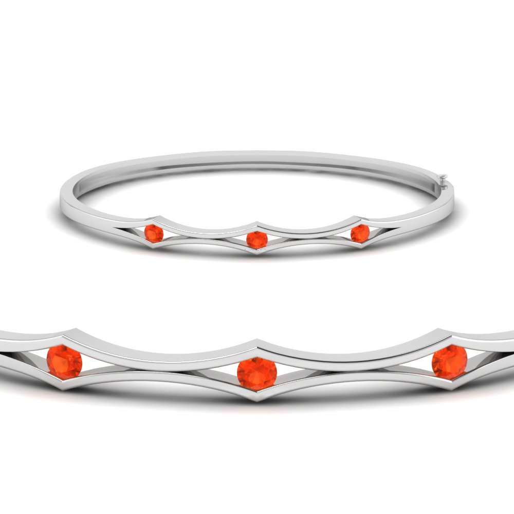 three stone orange topaz bracelet bangle for women in FDBRC310GPOTOANGLE2 NL WG