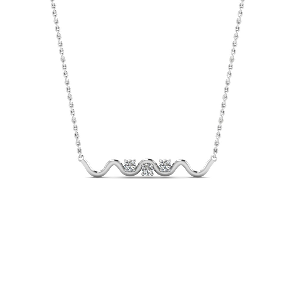 Platinum Three Stone Wave Diamond Pendant Necklace