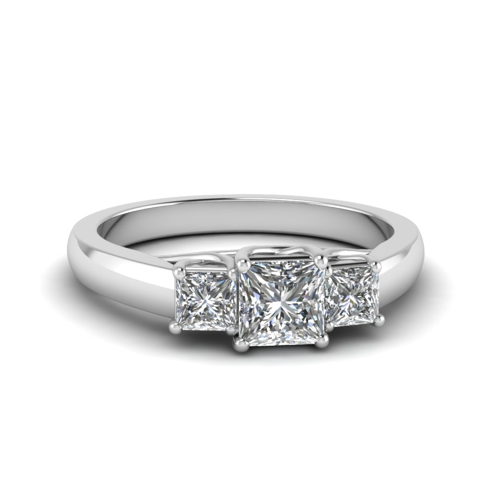 princess cut trellis 3 stone diamond engagement ring in FDENR578PRR NL WG