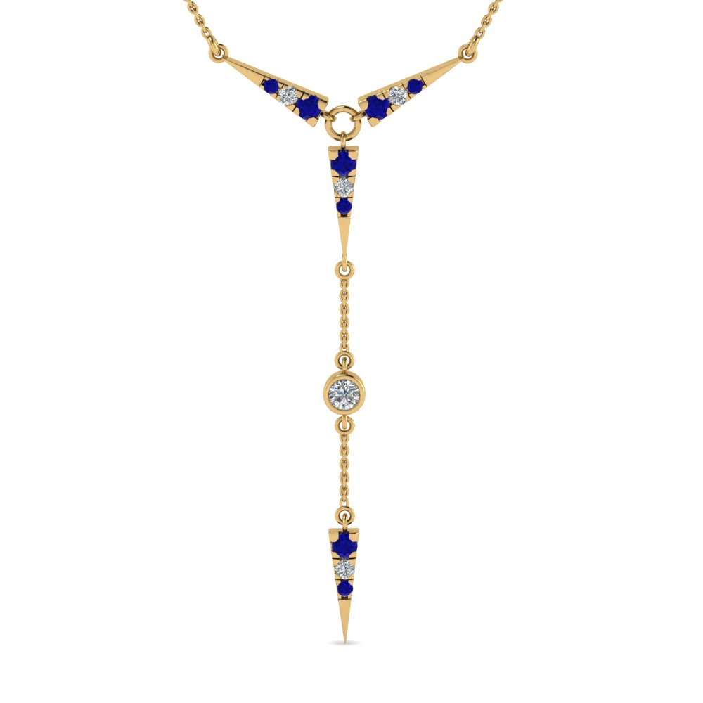timeless triangle drop diamond necklace with blue sapphire in FDPD8455GSABL NL YG