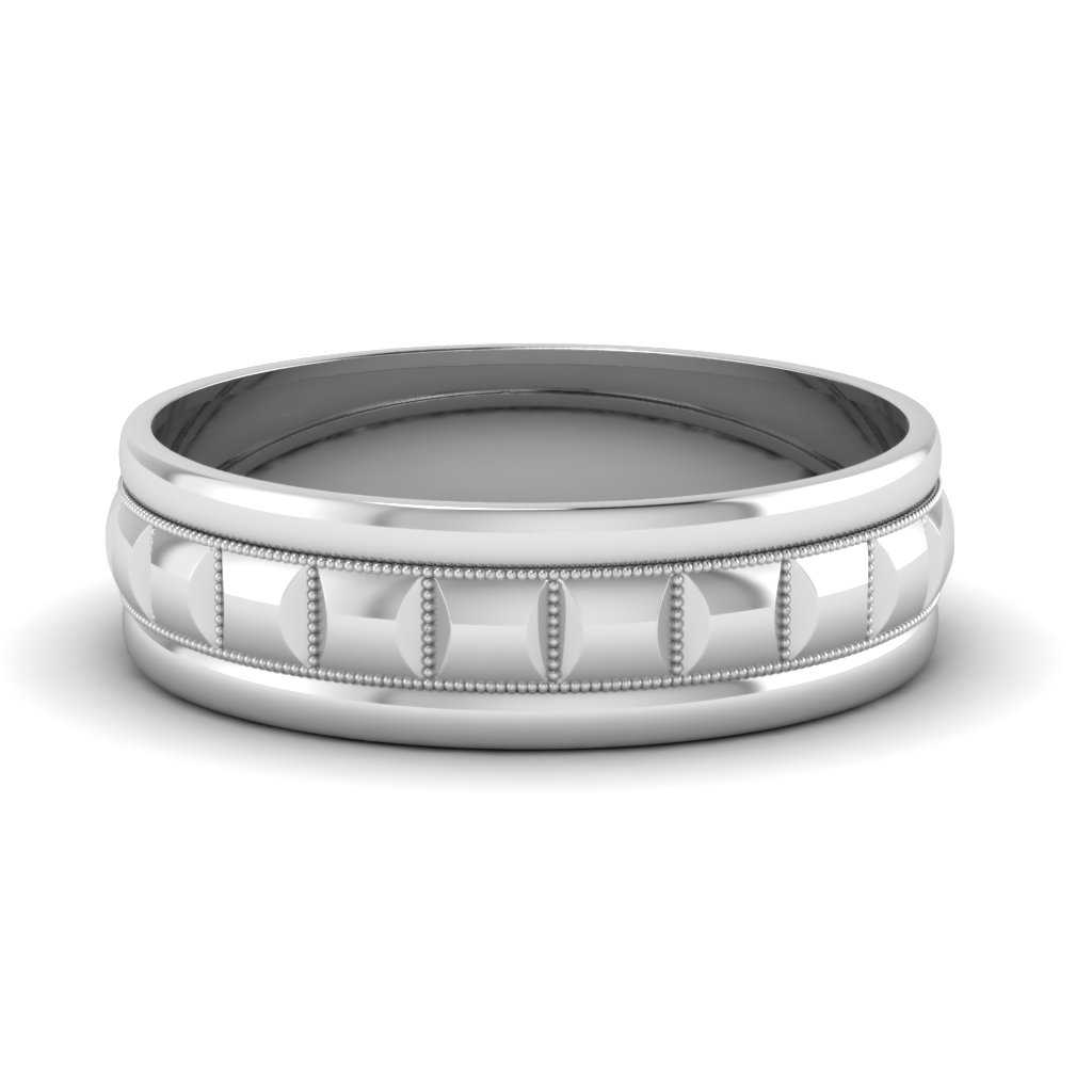 traditional milgrain curved mens wedding band in 14K white gold FDM1010B NL WG