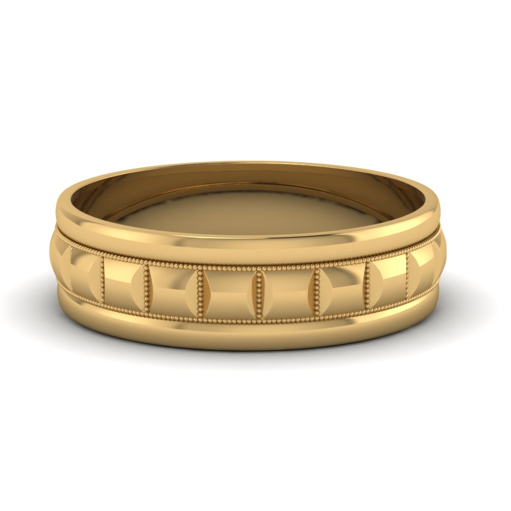 Traditional Milgrain Carved Men Band