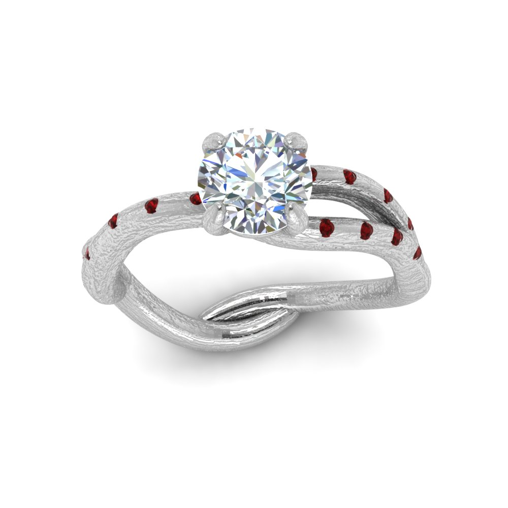 Tree Branch Engagement Ring With Ruby In 18K White Gold