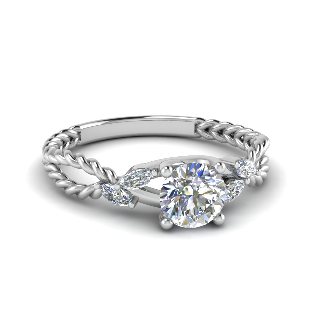 trellis round bud diamond engagement ring in 14K white gold FD1099 ROR NL WG