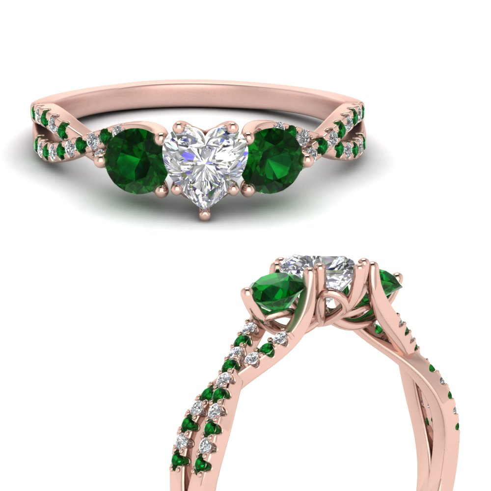 trellis-twisted-3-stone-heart-shaped-diamond-ring-with-emerald-in-14K-rose-gold-FD123699HTRGEMGRANGLE3-NL-RG
