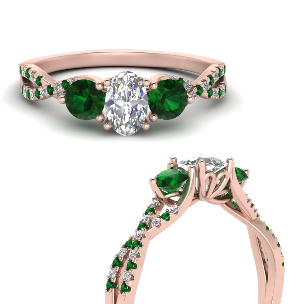 trellis-twisted-3-stone-oval-shaped-diamond-ring-with-emerald-in-18K-rose-gold-FD123699OVRGEMGRANGLE3-NL-RG