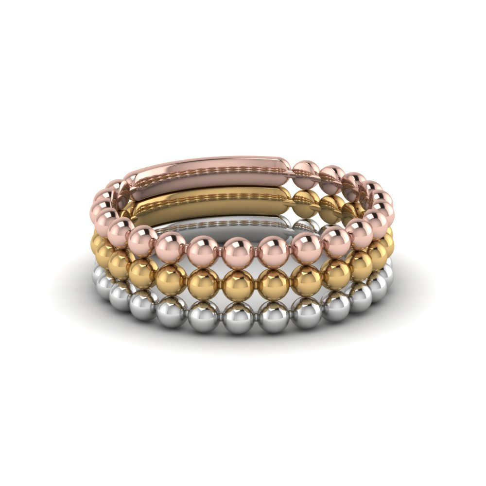 Three Metal Beaded Stackable Ring For Women
