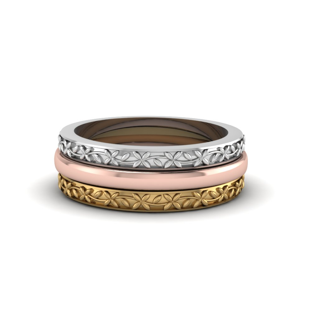 Tri Color Filigree Stackable Gold Anniversary Ring Gifts In 14K White Gold