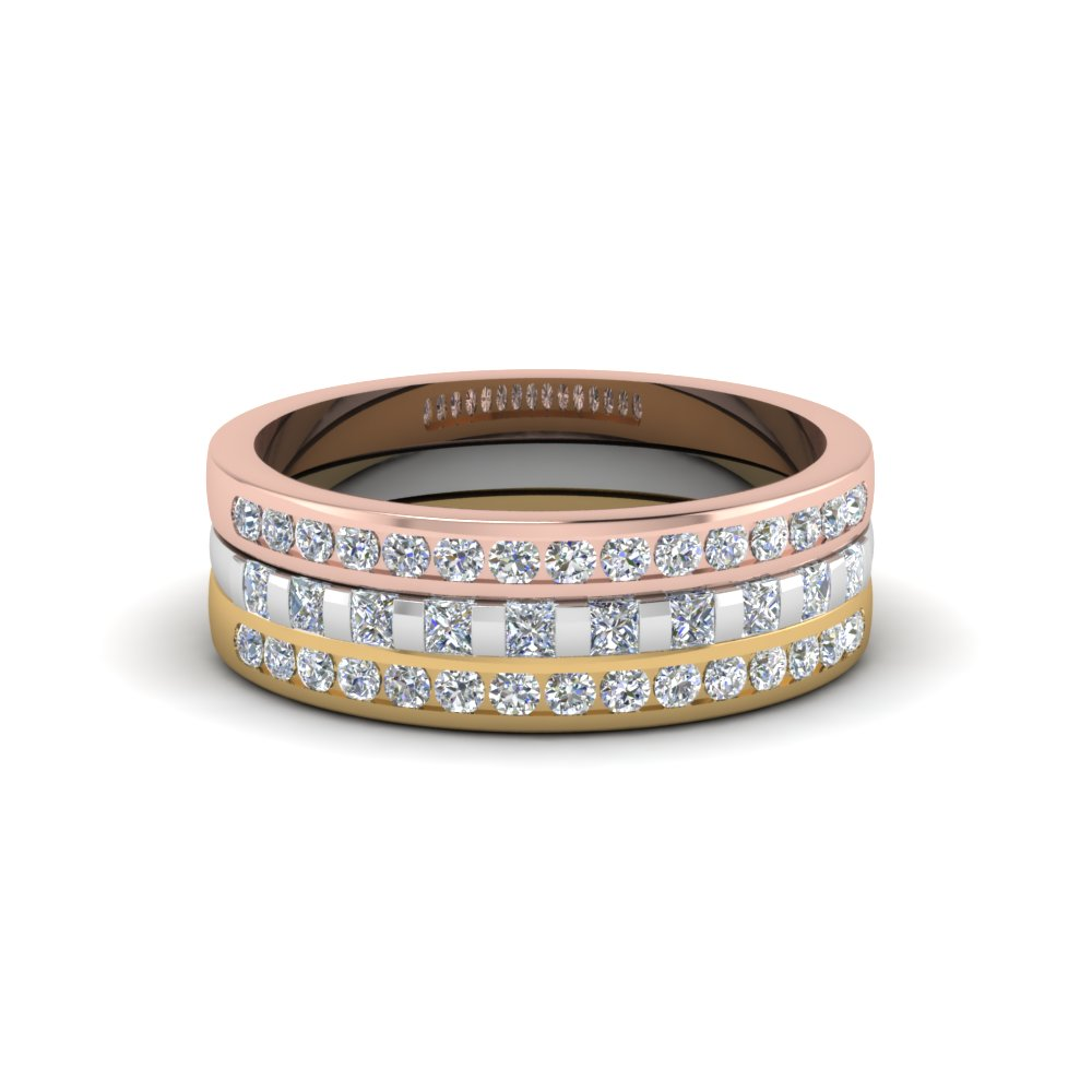 triple band wedding ring Cartier Trinity Pave Diamond Tri Color Gold Band Ring