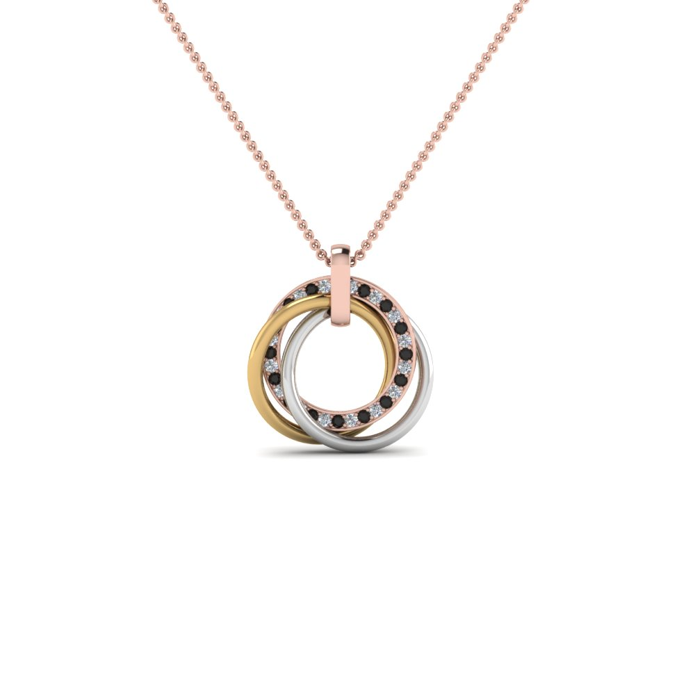 tri color linked circle necklace with black diamond in FDPD8430GBLACKANGLE2 NL RG