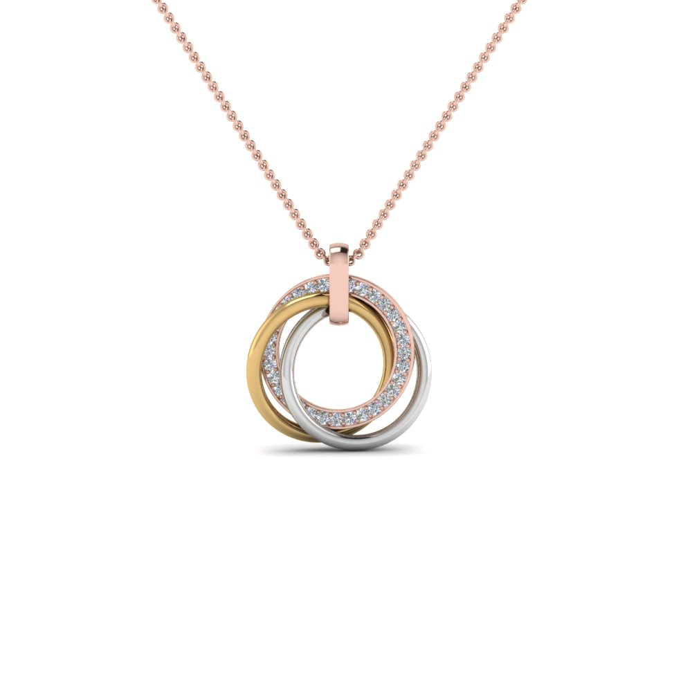 Tri Color Linked Diamond Circle Necklace