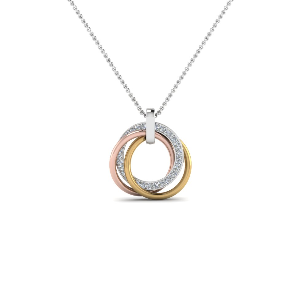 tri color linked diamond circle necklace in FDPD8430ANGLE2 NL WG