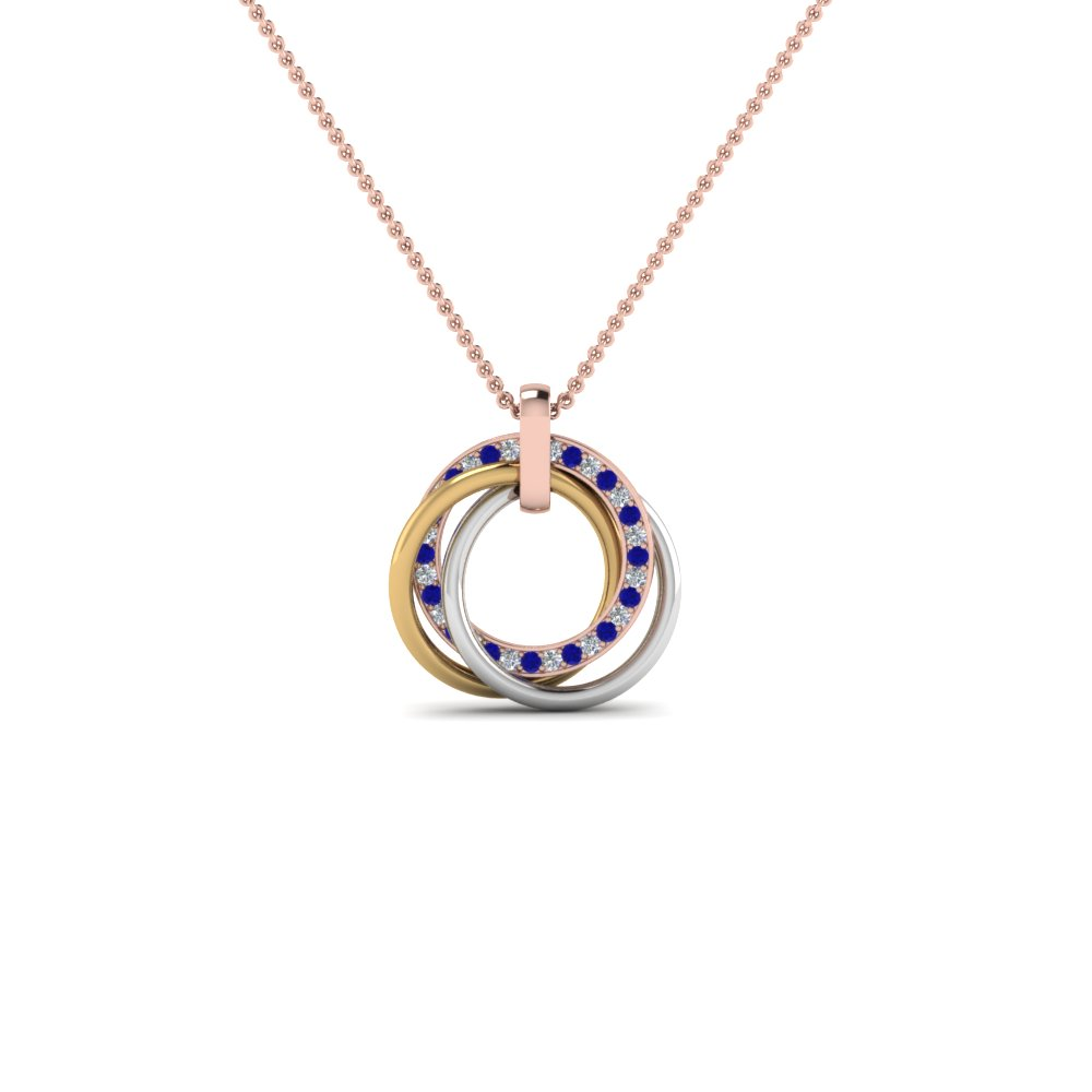tri color linked diamond circle necklace with blue sapphire in 14K rose gold FDPD8430GSABL NL RG