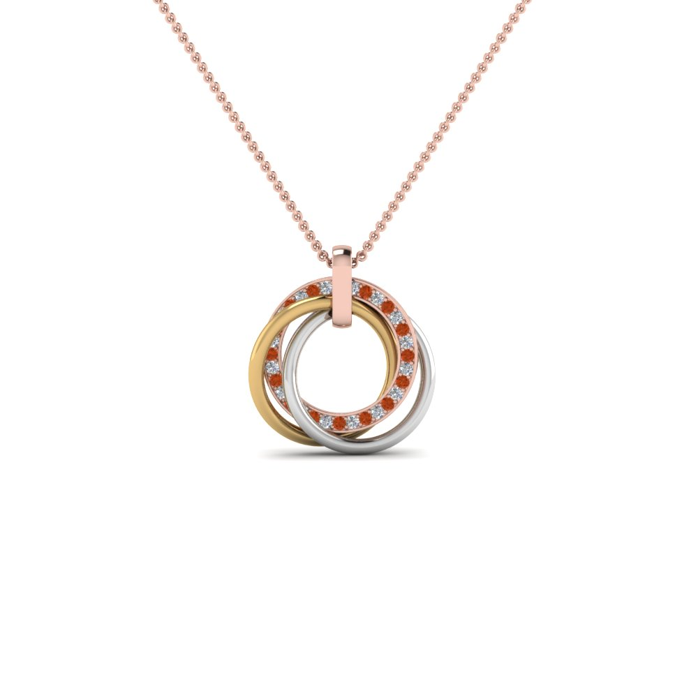 tri color linked diamond circle necklace with orange sapphire in FDPD8430GSAORANGLE2 NL RG