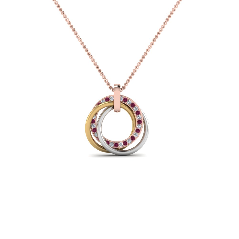 Multi Colored Linked Circle Necklace